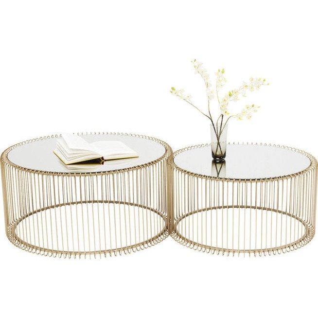 Złote Stoliki Kawowe Wire Kare Design 83456