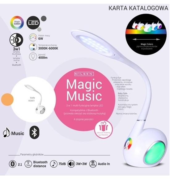 Lampka biurkowa LED Nilsen Magic Music AD001